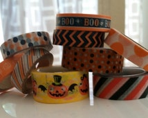 Halloween washi tape samples in variety of prints - 18 inches of boo, stripes, chevron, pumpkins, orange and black stripes, happy pumpkins