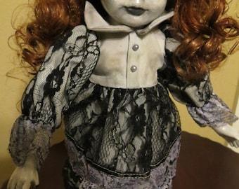 OOAK-Gothic-Zombie-Undead-Vampire-Creepy--Horror-Hand-Painted-Porcelain-Doll-Pollyanna
