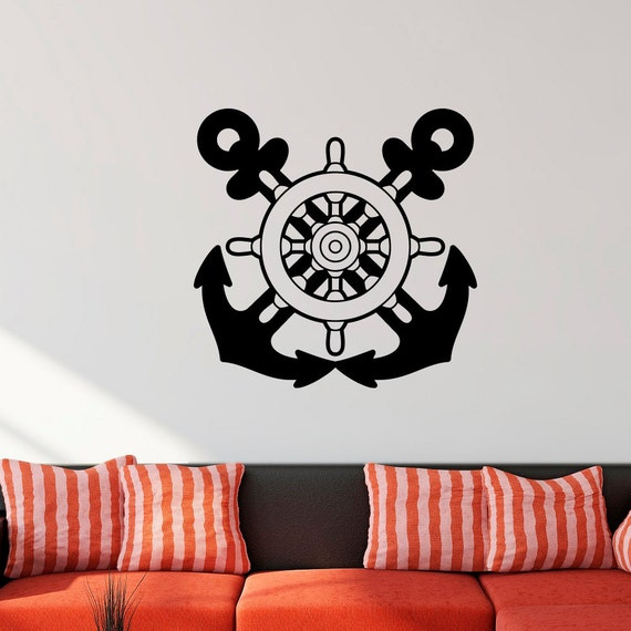 nautical wall decal anchors stickers ship wheel decor sea