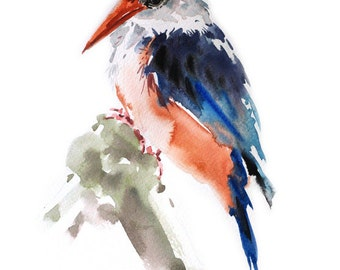 Kingfisher Bird , Bird watercolor painting, watercolor, Bird print Art print size 8X11 inch for room décor and special gift  No.325