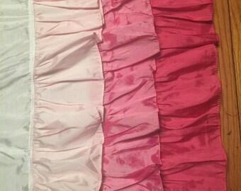 Pink Ombre 3 Ruffle Crib Skirt