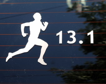 13.1, half marathon male runner decal - car windows, laptop