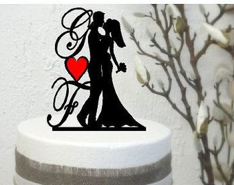 Personalised Acrylic Wedding Cake topper Bride & Groom Shiloutte with Initials Australian made