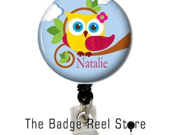 Badge Holder  - Retractable ID Badge Reel -  Badge Reel  - Owl - Personalized - Name