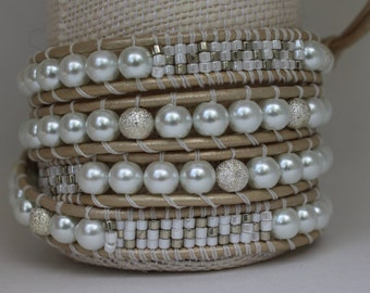 Wrap Bracelet - White Glass Pearls and White and Silver Seed Beads on White Pearl Leather