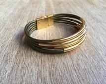 Leather Cuff Bracelet, Wrap Leather Bracelet, Green Brass, Multi Strand Leather bracelet, Leather Bangles, Tube Leather LB001263
