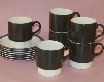 Retro Vintage Coffee/ Tea Cups Poole Pottery 1970's Compact Charcoal Set Of 6