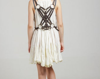 """Dark brown leather harness """"Crossed at the Back"""", leather harness belt, leather fashion harness"""