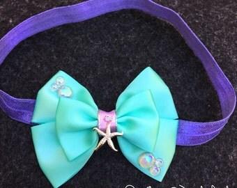 Baby Mermaid Hair Bow Headband