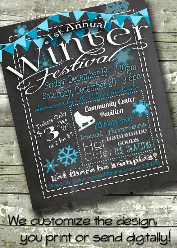 winter festival holiday fair christmas bazaar market 5x7