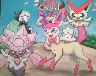 Custom Pokemon canvas paintings
