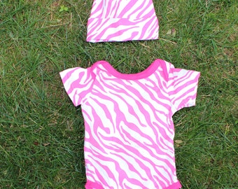 Pink Zebra Print Bodysuit 100% Cotton with Matching Cap for Baby