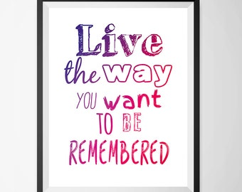 Poster Live the way you want to be remebered - 3 Digital Print, Printable Wall Poster, Modern Art, Typography Posters, Home wall decor.
