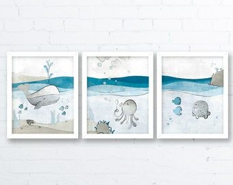 Nautical Nursery Art Prints - Whale Nursery Decor, Childrens Room Art Nautical Wall Decor, Ocean Art for Kids Room, Blue Baby Fish