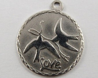 Love Birds Sterling Silver Vintage Charm For Bracelet