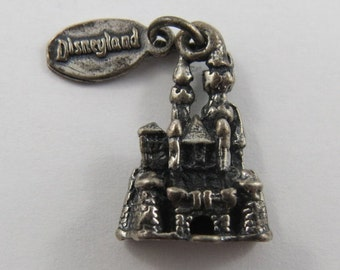 Disneyland Sleeping Beauty's Castle With Tag Sterling Silver Vintage Charm For Bracelet