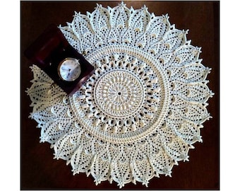 "Crochet Doily Cream– 15"" Diameter – Round Lace Doily – Crochet Table Topper – Centerpiece –Textured Doily 3D - Gift Idea."