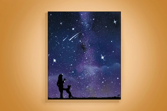 Items similar to pet memorial painting silhouette art for How to paint a simple picture on canvas