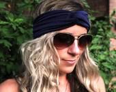 BUY 2 GET 1 FREE!!!  Navy Jersey Headband, Jersey Twist Headband, boho Hair band, Twist Headband, Twist Headwrap, knot headband