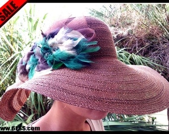 Brown Feather Kentucky Derby Hat,Brown Feather Fascinator,Large Brim Hat,Brown Sun Hat,