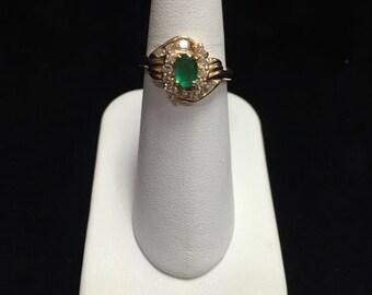 Ladies 14K Yellow Gold Diamond and Emerald Ring