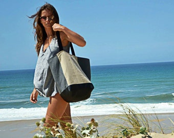 TOTE LACANAU LAKE. sac de plage Lin et Coton. Linen and Cotton shoulder bag. Canvas large beach bag-waxed cotton lining-woman tote-French