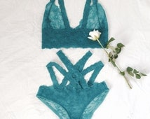 Perfect strappy lingerie set - soft bra and panties, handmade lingerie