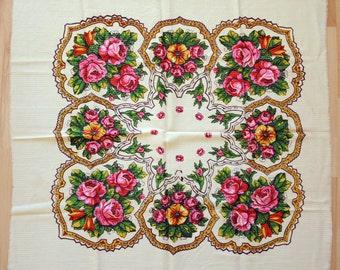 Vintage woolen shawl Woolen scarf with floral pattern #95