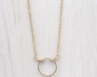 Sea Green Agate & Golden Circle Necklace