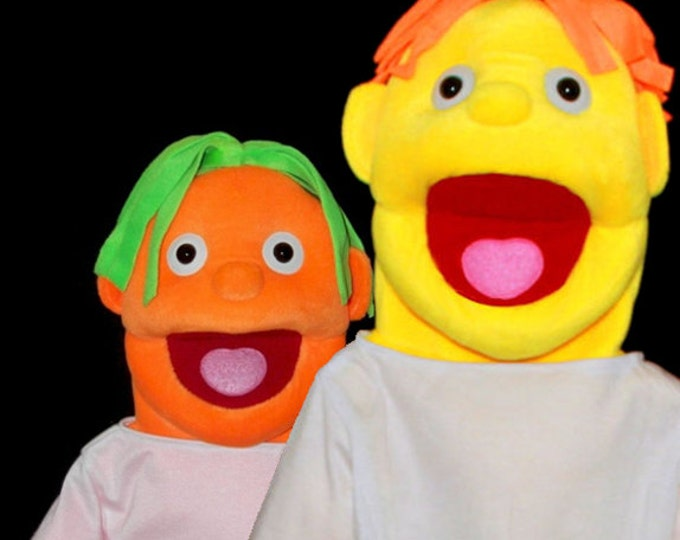 "Black light puppets. Two Large 30"" Full/Half Body Puppets w/ 3 Changeable Wigs. Professional Puppets for use with blacklight or daylight."