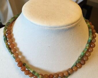 Autumn Jade/Chinese Turquoise 2 Strand Necklace