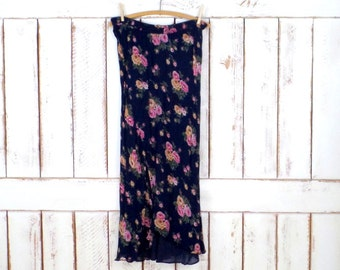 90s vintage dark blue/pink floral long maxi skirt/sheer flowy floral skirt