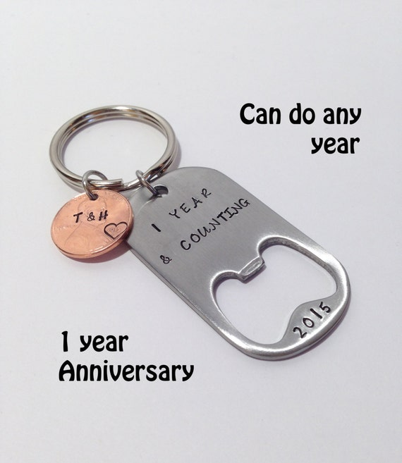 1 year anniversary gift for him personalized penny keychain for Anniversary gifts for men 1 year