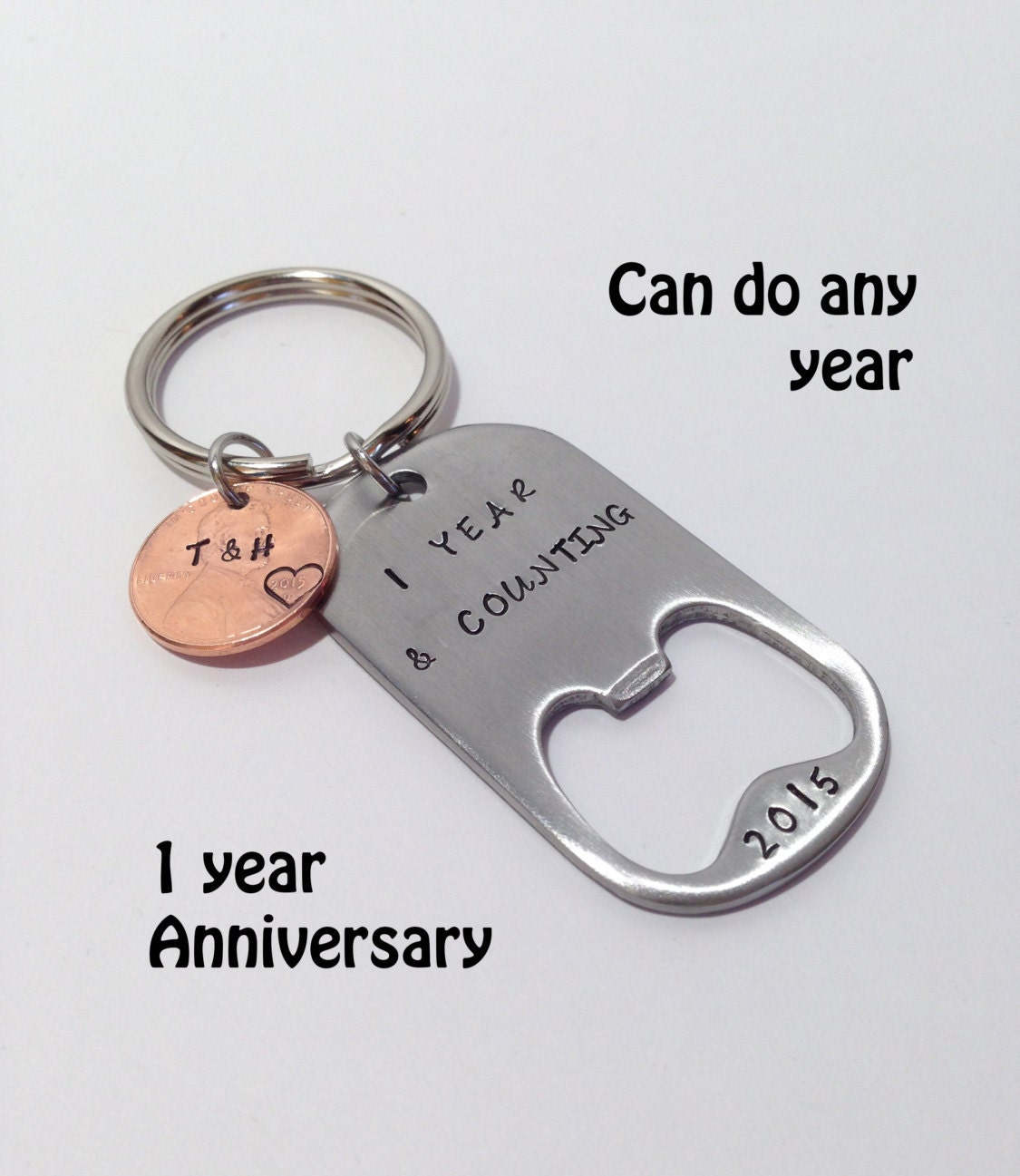 Year anniversary gift for him personalized penny keychain