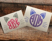 Cat Monogram Decal - Monogram Cat Decal - Monogram Car Decal - Monogram Decal - Car Decal - Monogram Cat Decal - Kitty Cat Decal - Cat Decal
