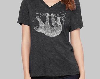 Sloth, V Neck T Shirt, Sloth Shirt, v neck shirt, women, v neck tshirt, womens, graphic tees, v neck, screen print shirt