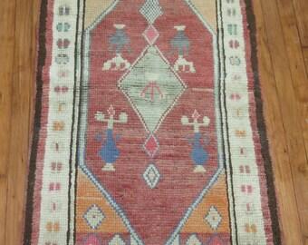 Vintage Turkish Oushak Anatolian Rug Size 2'6''x4'2''