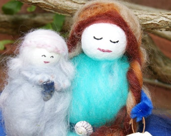 Wool Felt Fairies. Little Storm Clouds and Momma . wool felt fairies