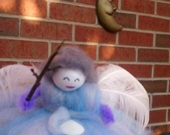 Feather Faerie - wool felt fairy