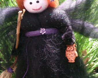 Velda - wool felt witch