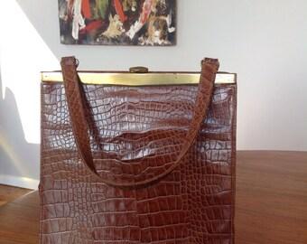 Crocodile skin authentic vintage handbag