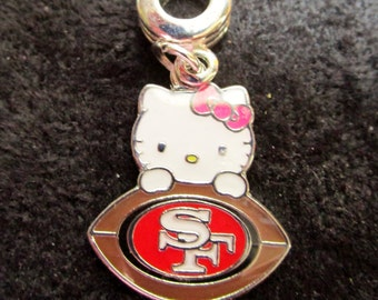 "SAN FRANCISCO 49'ers ""Hello Kitty"" European Charm For Bracelets"