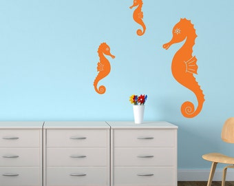 Seahorse Decal Set of 3 Seahorses Under the Sea Vinyl Wall Stickers