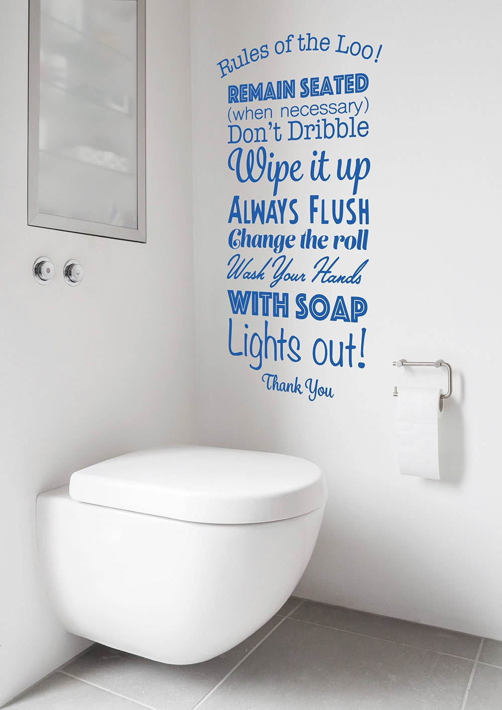 Rules of the loo decal toilet rules sticker lavatory bathroom for Bathroom design quotes