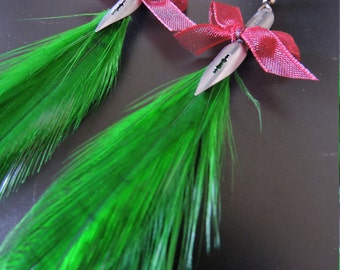 Earrings Rooster feathers and feather writing