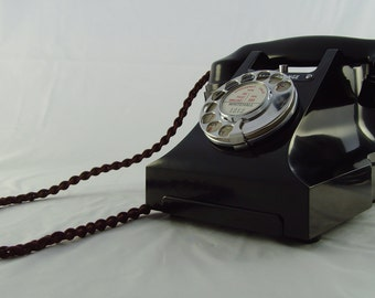 GPO 312L Vintage 1930s/40s black bakelite telephone, fully restored, ready to use