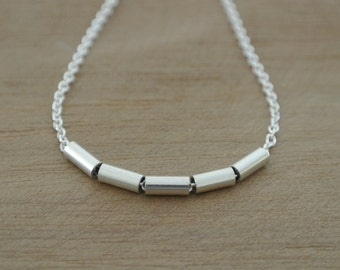 Tiny Tube Bead Necklace // everyday elegance and simplicity // Solid Sterling Silver // Handmade by MINI METAL