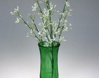 Vintage Green Glass Flower Vase - Hoosier Glass Co - Emerald Green Vase