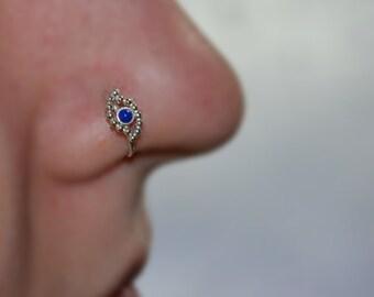 2mm Lapis Lazuli NOSE RING STUD // Silver Nose Hoop - Tragus Earring - Septum Ring - Cartilage Hoop Earring - Helix Ring - Nose Piercing 18g