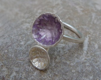 Two Bowls Ring. Sterling silver ring. Silver 925. Enamel Jewelry.  Designer jewelry. Purple ring. Contemporary Jewelry. Contemporary Ring.